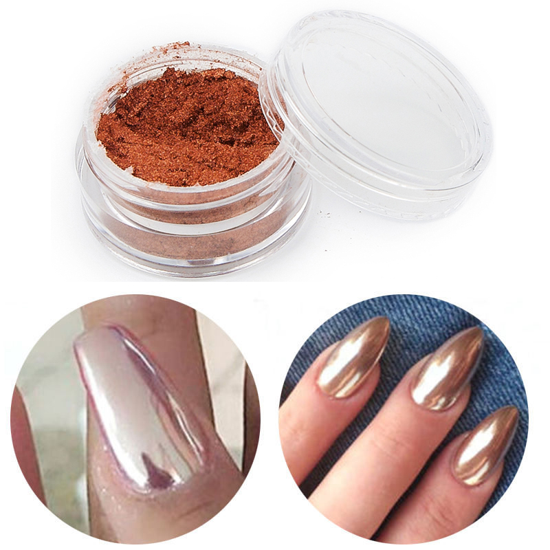 2g/Box New Shinning Rose Gold Nail Mirror Powder Nails Glitter Chrome Powder Nail Art Manicure Decoration Beauty Tools Hot(China (Mainland))
