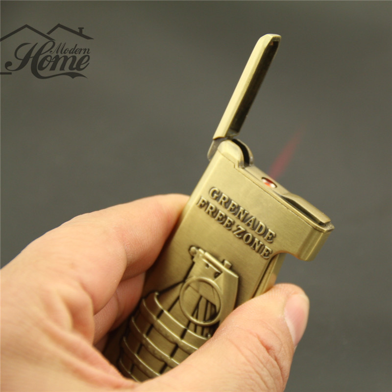1pc High Quality Torch Cigarette Lighter Grenade-Type Refillable Butane Copper Lighter Novelty Design Creative(China (Mainland))
