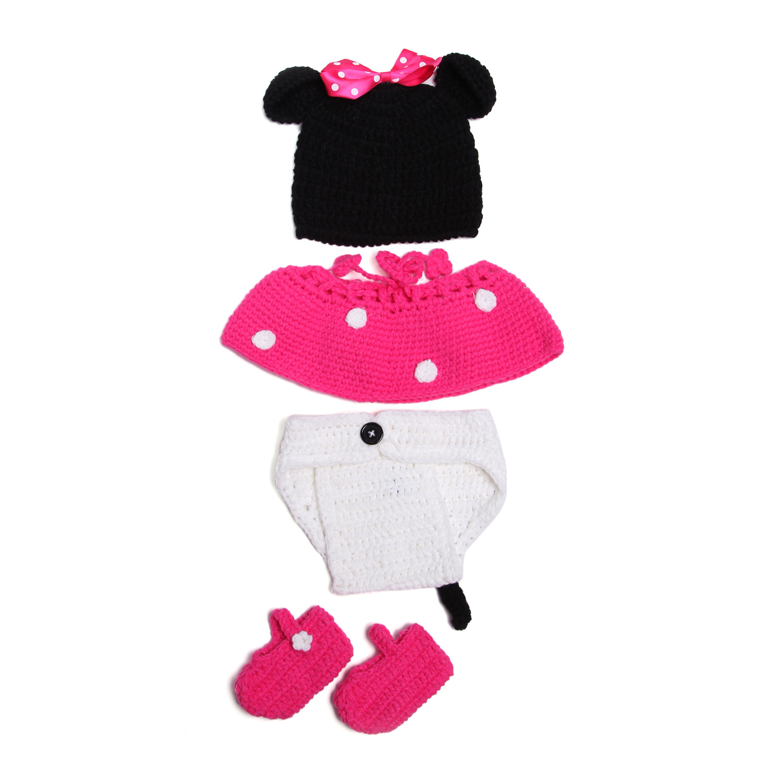 New Arrival 4pcs/set Baby Photography Accessories Handmade Crochet Costume Baby Newborn Outfits(China (Mainland))