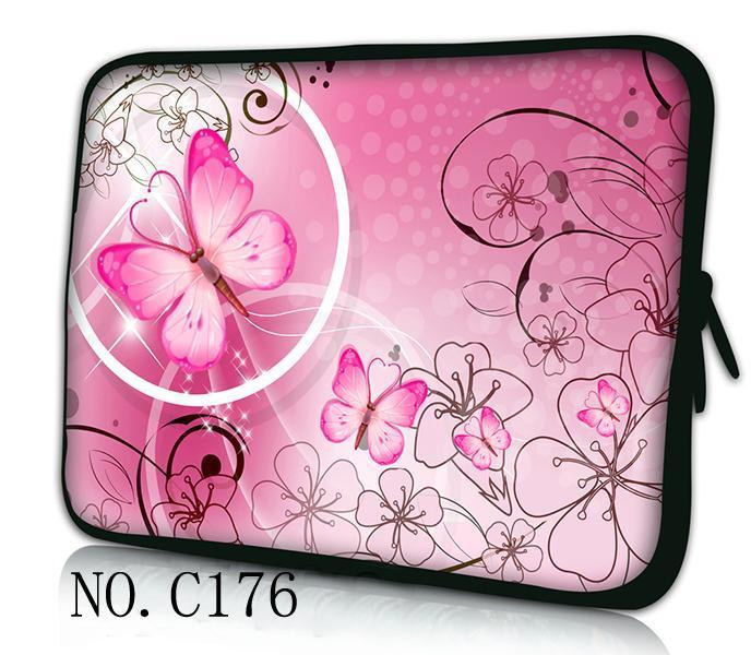 "Pink Flower 10""12""13""15""17"" Inch laptop bag neoprene notebook case Zipper computer Notebook Sleeve for 17 inch laptop(China (Mainland))"
