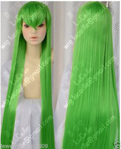 HOT sell Free Shipping &gt;&gt;&gt;New cosplay party long Straight Green wig <br><br>Aliexpress