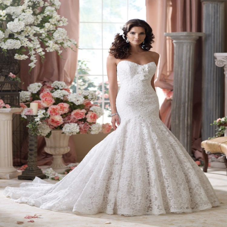 2015 High Fashion Designer Arabic Lace Mermaid Wedding