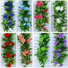 2.6m Artificial Rose Garland Silk Flower Vine Ivy Home Wedding Garden Decoration(China (Mainland))