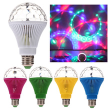 Free Shipping Hot Sale!!! E27 3W Colorful Auto Rotating RGB LED Bulb Stage Light Party Lamp Disco(China (Mainland))