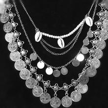 New Fashion Beach Boho Bohemian Multilayer Jewelry shell Pendant Statement Necklace For Women Gift(China (Mainland))