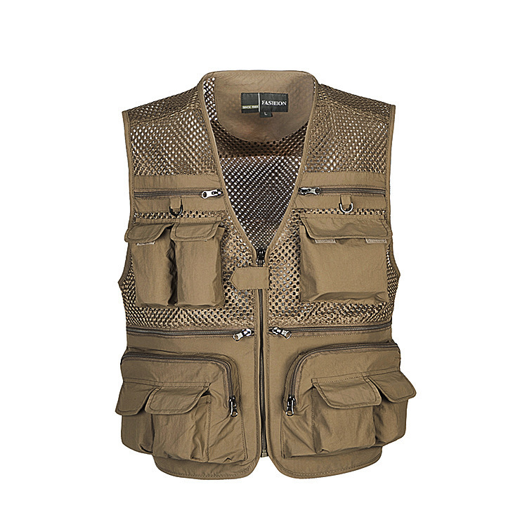 2015 Summer New Multi-pockets Outdoor Vest Men Professional Photography Cameraman Mesh Vest Director Vests(China (Mainland))