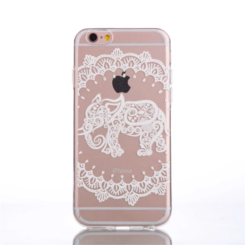 Beautiful White Floral Mandala Palace Flower Elephant Ultra Slim Soft TPU Phone Cases Cover For iPhone 5 5G 5S SE 6 6G 6S 6Plus