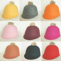 Wholesale Trendy Kids Spring Derby Wool Pom-pom Hats Infant Boys Autumn Bowler Hat Girl Felt Cap Childrens Winter Riding Caps
