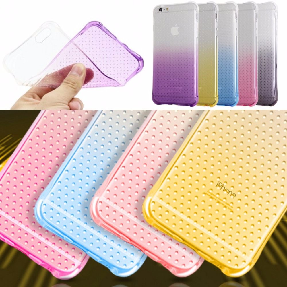 For iPhone 6 6s Plus 5 5s SE Shockproof Air Cushion gradient Transparent soft Case for Galaxy A510/A710/A9/C5/C7/J320/J510/J710(China (Mainland))