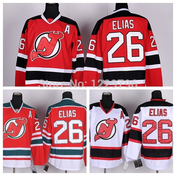 Cheap New Jersey Devils Hockey Jerseys #26 Patrik Elias Jersey Home Red Road Away White Third Green Stitched Jersey A Patch