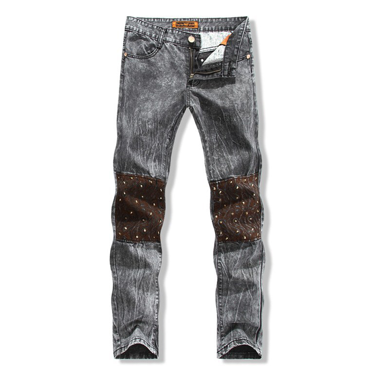 Retro Jeans Knee Embroidered Mens 2015 Grey Fashion Brand Denim Straight Slim Fit Pants Trousers 30-38 Retail - Baron store