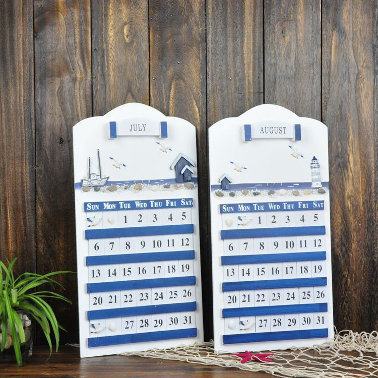 New Mediterranean <font><b>Home</b></font> Furnishing Hanging Wooden Calendar <font><b>Home</b></font> <font><b>Decoration</b></font>