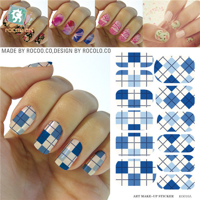 KG018A Water Transfer Foils Nail Art Sticker Blue Green Plaid Design Finger Nail Decor Stickers Full Cover Manicure Wraps Decals(China (Mainland))