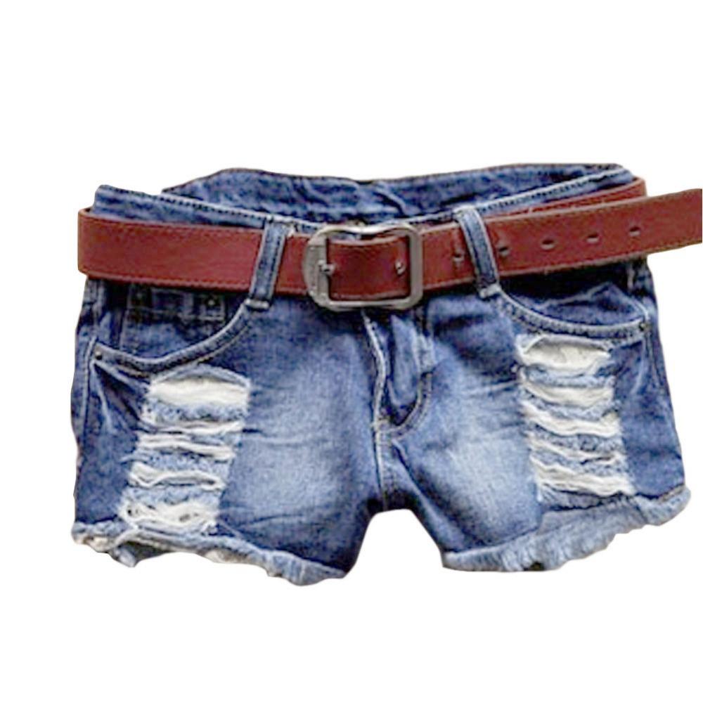 Retro Vintage Women Girl Low Waist Tassel Hole Jeans Denim Shorts Blue Free Shipping