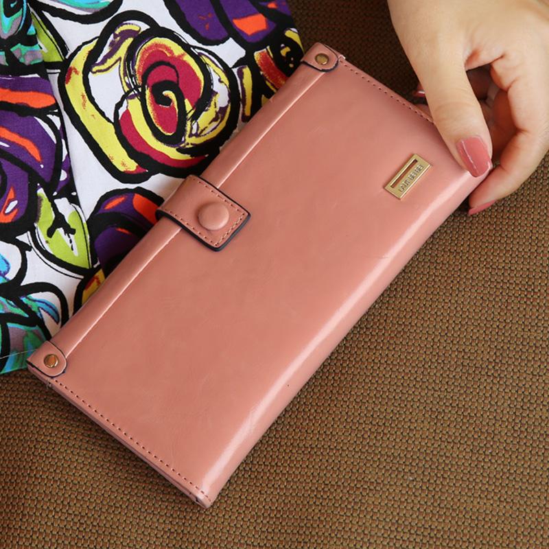 wax paper oil leather hasp zipper long design women's multifunctional wallet(China (Mainland))