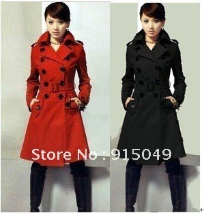 NEW Women Double-Breasted Trench Coat/Wool Military Long Jacket
