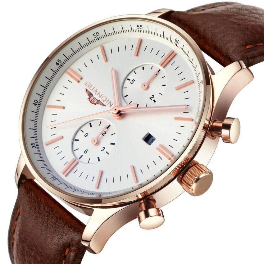 New Fashion Men Quartz Watches Men Luxury Brand GAUNQIN Leather Strap Men Dress Wristwatch Waterproof Male Casual Clock watch(China (Mainland))