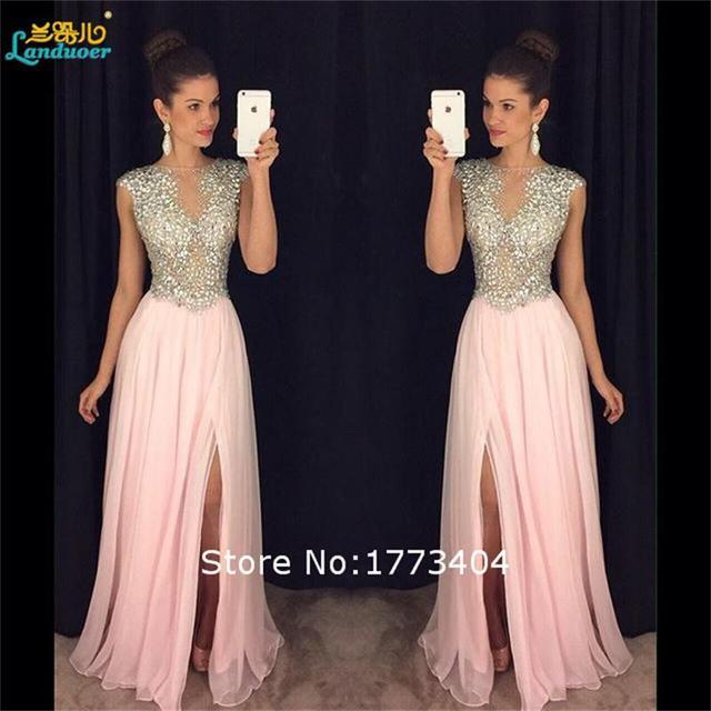 2016 игристое бисера разрез стороны розовый вечерние платья Жилетidos феста формальный ...