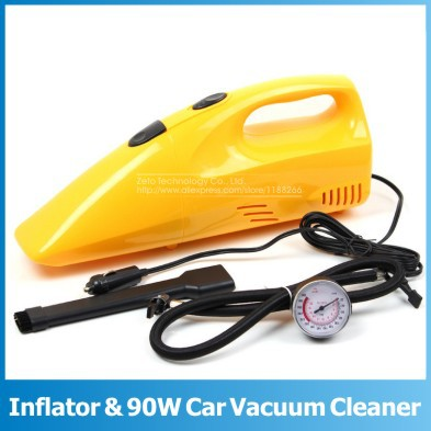 New 2 IN 1 Inflator Air Compressor Portable Handheld Mini Car Vacuum Cleaner Home Dust Collector With Air Pump and Tire Pressure(China (Mainland))