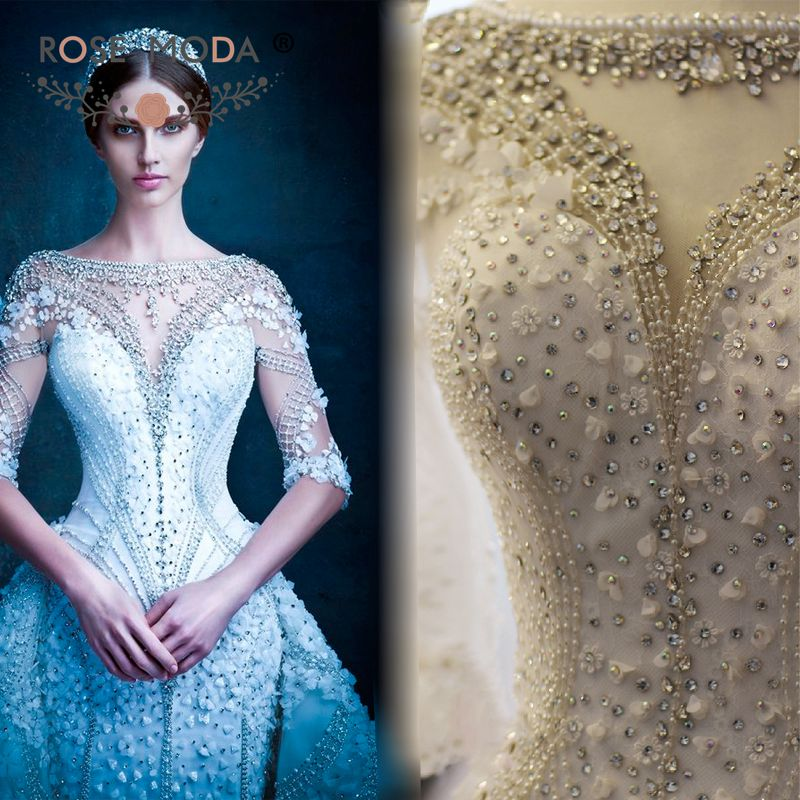 Real photos luxury half sleeves heavily crystal beaded for Heavy beaded wedding dresses