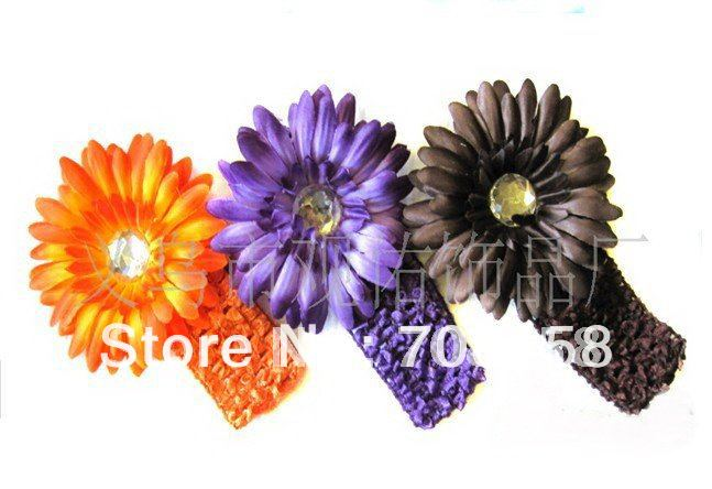 "free shipping,200pcs /lot 1.5"" Baby Girl Waffle Crochet Headband With 4"" Flower Crocheted Headbands Flowers Beauty Flowers(China (Mainland))"