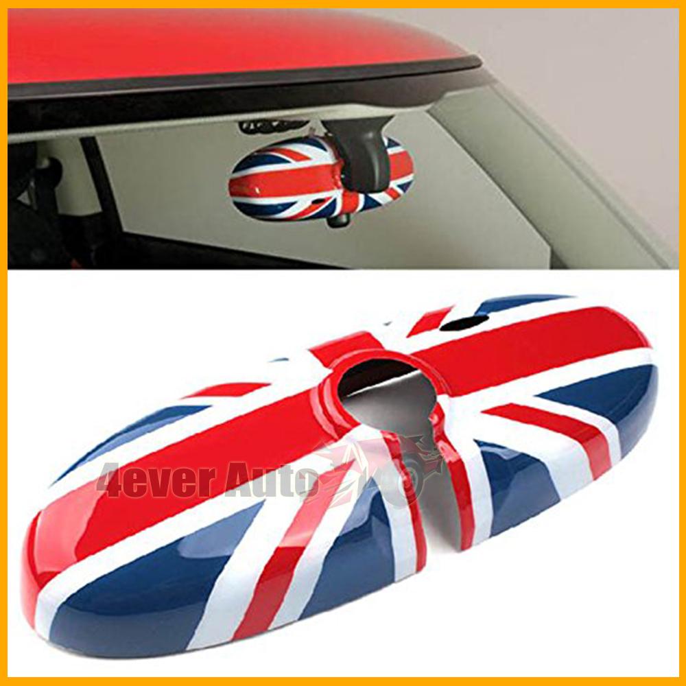 Mini Cooper - Rearview Mirror Cover, interior rearview mirror cap,Union Jack,Checker Flag