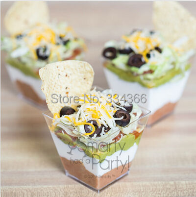 2015 Free Shipping Disposable Dessert Cake Cup Small Cake Container Ice Cream Cake Mini Cup Cube Cup 2 oz 100 Count Box(China (Mainland))