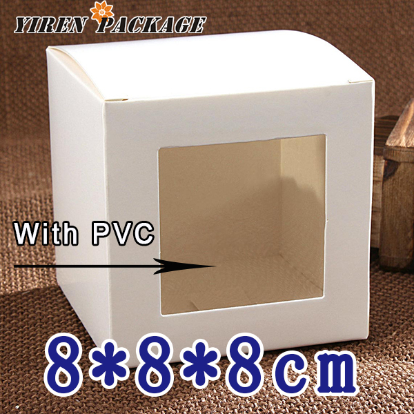 8*8*8cm white paper box with window in high quality / packing box/ cases & display / gifts & crafts / 100% guarantee(China (Mainland))