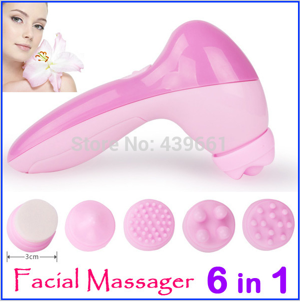 Hot Fashion Mini 6 in1 Facial Exfoliator Care Cleansing Body Electronic Beauty Skin Face Cleaner Massage Machine Free Shipping(China (Mainland))
