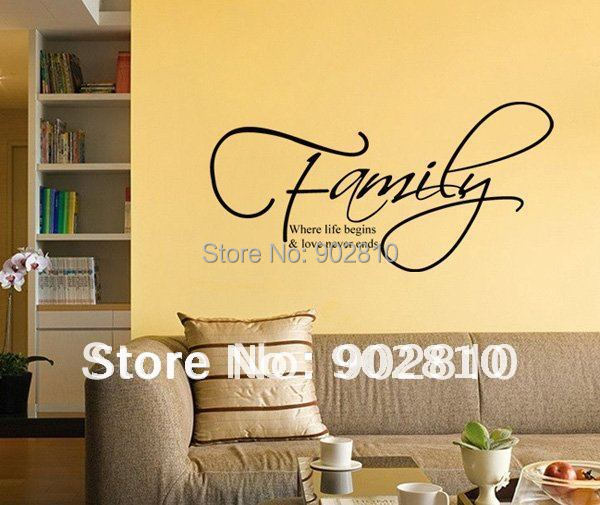 Listed in stock 56x28cm family where love begins living for Living room quote stickers