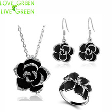 brand Camellia design pendant fashion women 18k gold plated black painting rose flower necklace earrings ring Jewelry Sets 82606(China (Mainland))