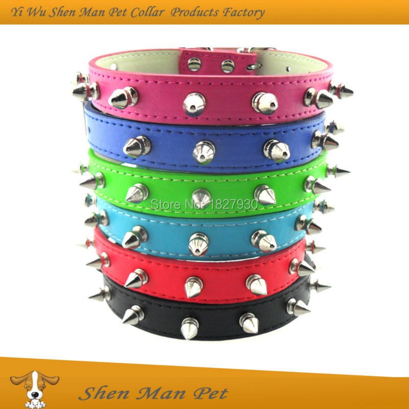 Wholesales Fashion S M L Punk Style Adjustable Spiked Black Red Blue Pink Rose Pu Leather Pet Dog Collar for Dogs(China (Mainland))