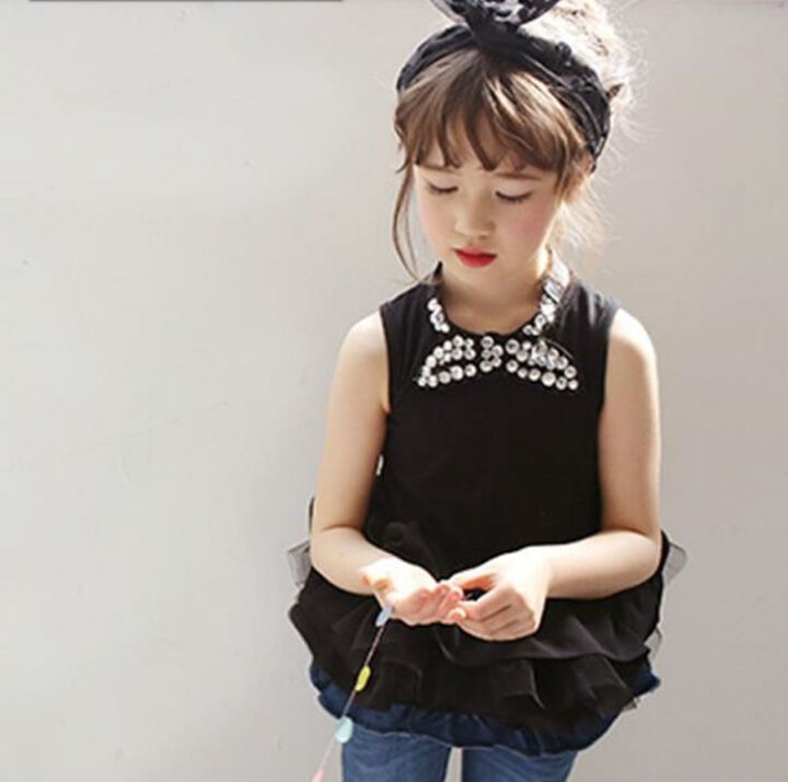 Free shipping  2015  New Summer Sleeveless Rhinestone Bows Ruffles Girls Long Tops / Blouse  Children Ruched  Shirt  Blue Black <br><br>Aliexpress