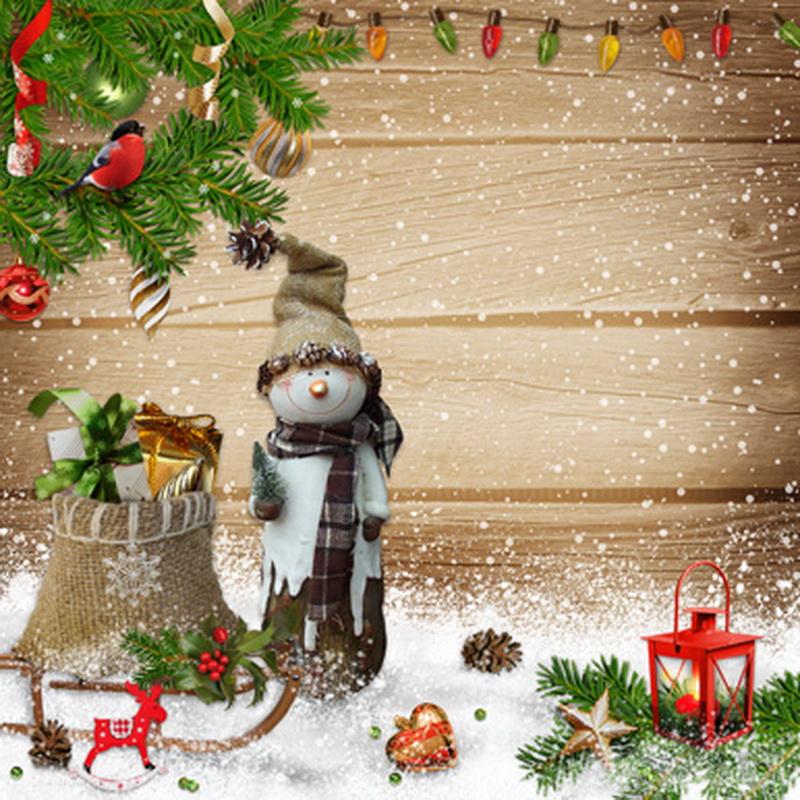 10x10FT Christmas Balls Pine Branch Wooden Board Lantern Snowman Custom Photography Studio Backdrop Background Vinyl 8x8 10x12(China (Mainland))
