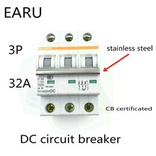Buy 3P 32A DC 750V DC Circuit Breaker MCB for PV Solar Energy Photovoltaic System Battery C curve CB Certificated Din Rail Mounted for $18.00 in AliExpress store