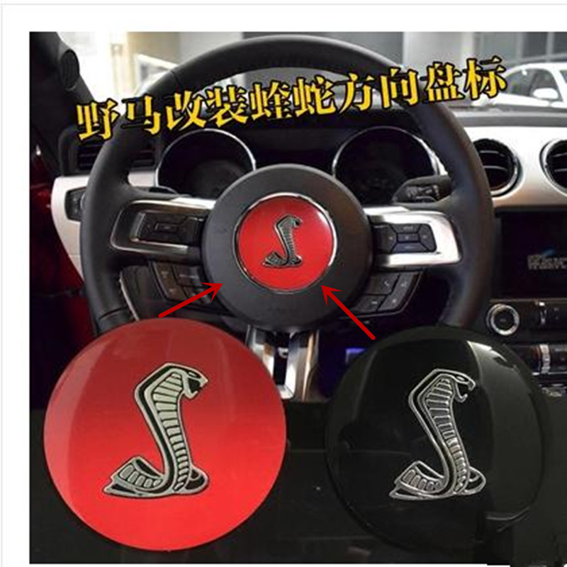 1PC 3D Fashion Aluminum Black/red Steering Wheel horn Emblem for Ford Mustang GT350 shelby Car styling(China (Mainland))