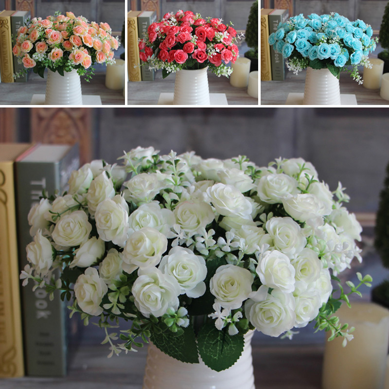 Hot Pretty Charming Delightful 15 Buds 1 Bouquet Mini Rose Artificial Silk Flower Bride Bridal Decal(China (Mainland))