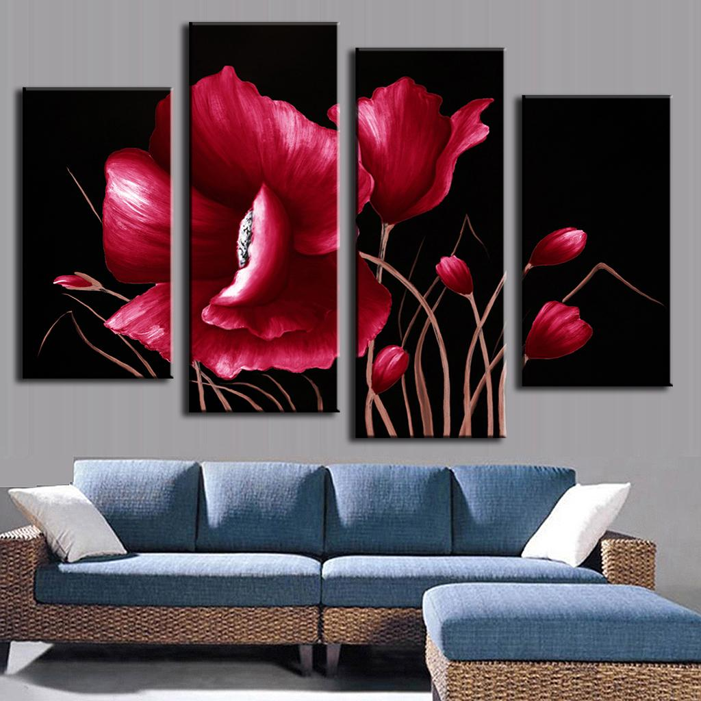 HOT SALE Printed Oil Painting Red Flower 4 pieces Combined Canvas Paints Living room bedroom decoration FL4005(China (Mainland))