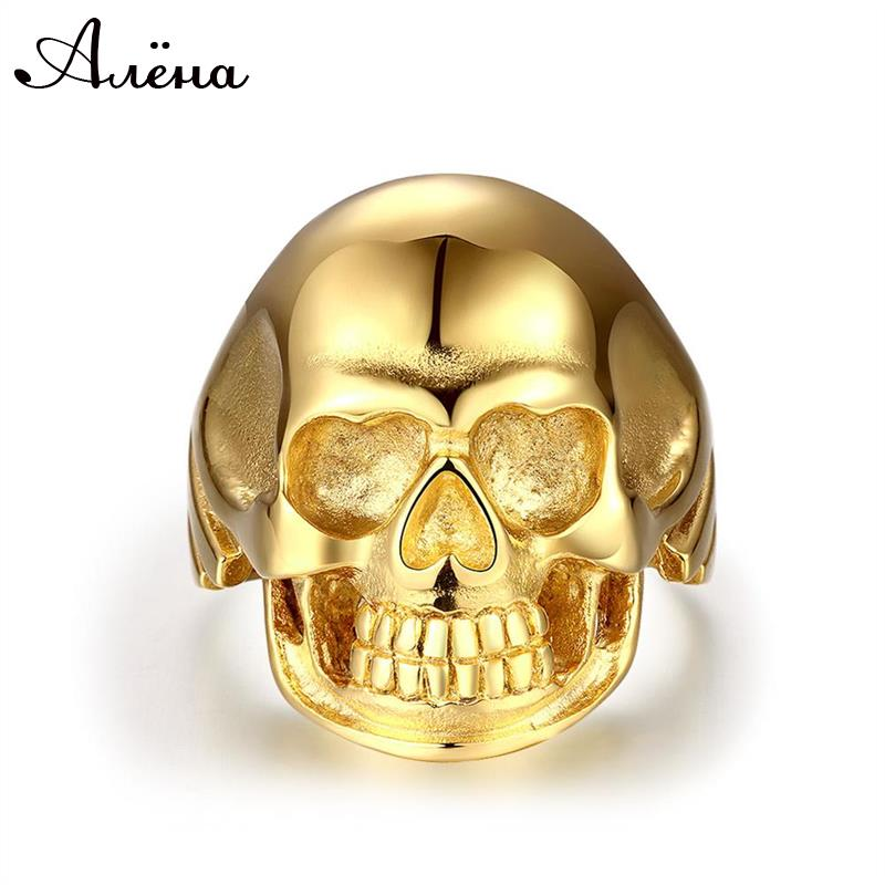 18K Gold Plated Skull Ring For Men 316L Stainless Steel Punk Rock Style Anel Masculino Smooth Polishing Men's Jewelry(China (Mainland))