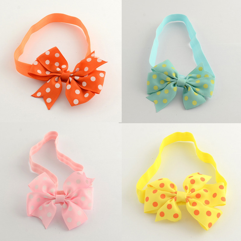 Cloth Cotton Polka Dot baby Elastic Head bands fashion girls headwear colorful Sparkling Sequins solid women hair Accessories(China (Mainland))