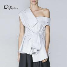 Buy CUYIZAN One shoulder blouse shirt women tops brand 2017 new Summer irregural striped shirt blouse femme Elegant ruffles blusas for $14.39 in AliExpress store