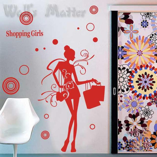 Removable Vinyl Paper art Decal decor Multiple color choices Fashion personality girl glass windows decoration p0114