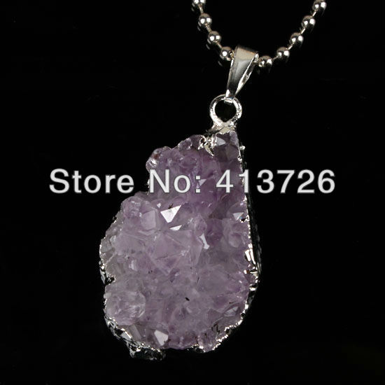Free Shipping wholesale 10 Pcs Silver Natural Durzy Amthyst Clusters Crystal Stone Random Shape Pendant Jewelry Light Purple<br><br>Aliexpress