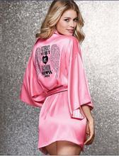Soft Silk Slip Robes for Women Wedding Robe Pajama Party,Sweet Pink  With Fake Diamond Dressing Gowns,Sexy Satin Kimono Bathrobe(China (Mainland))