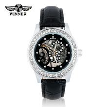 Lujo de las ventas calientes Winner marca mujeres reloj más nuevo diseño hueco mecánico relojes de señora reloj relojes mujer 2015