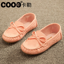 J.G Chen 2015 Girls Single Shoes For Summer Autumn With Bow-tie PU Leather Children Shoes Euro Size 21-35 Kids Loafers Girls(China (Mainland))