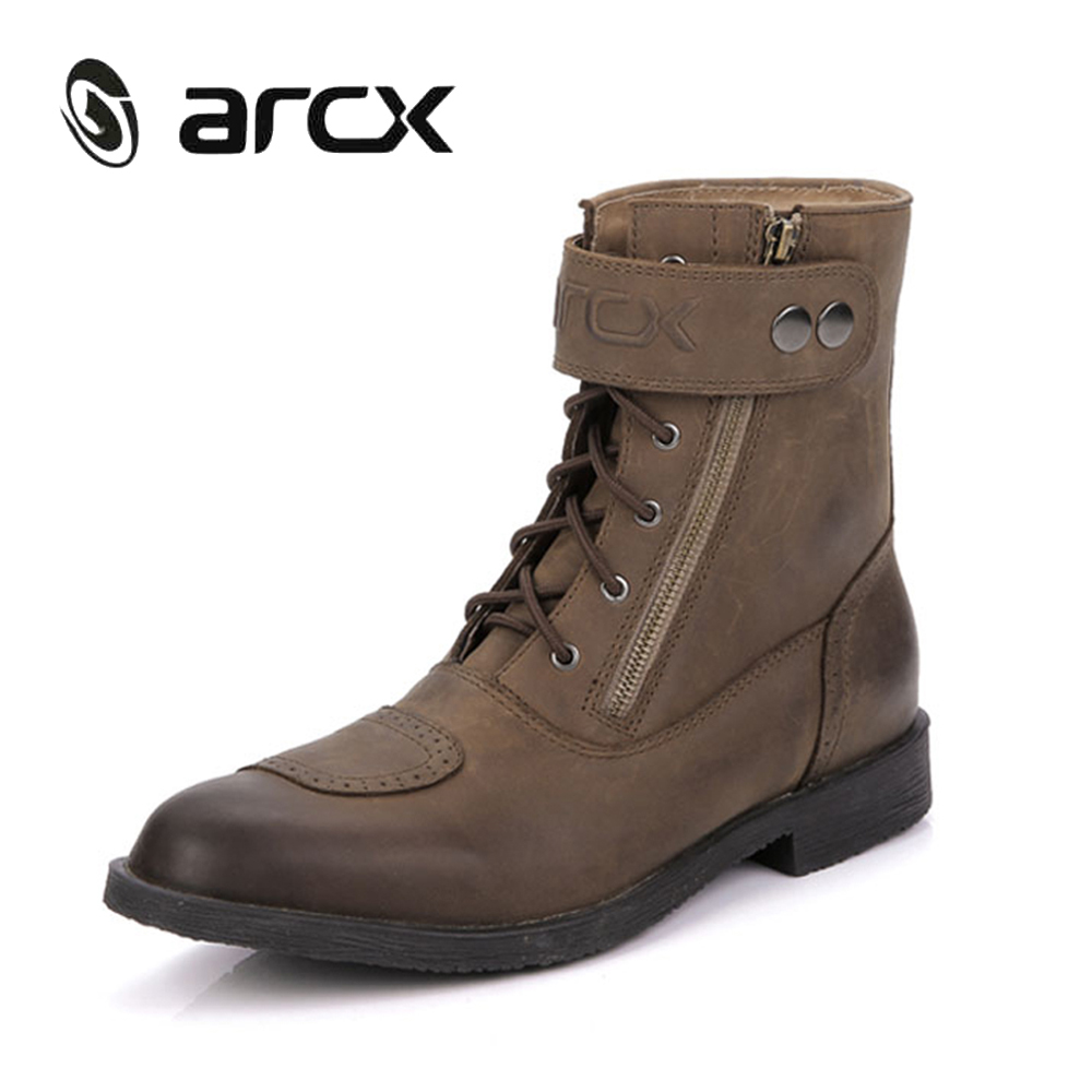 ARCX Cow Leather Motorcycle Riding Ankle Boots Street Moto Racing Motorbike Chopper Cruiser Touring Biker Vintage Leisure Shoes(China (Mainland))