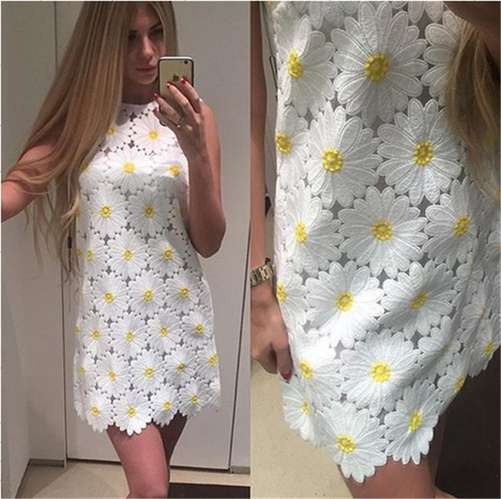 Fashion Sunflower dress for women's lace embroidery Daisy flower sleeveless casual beauty one piece tank/vest dress(China (Mainland))