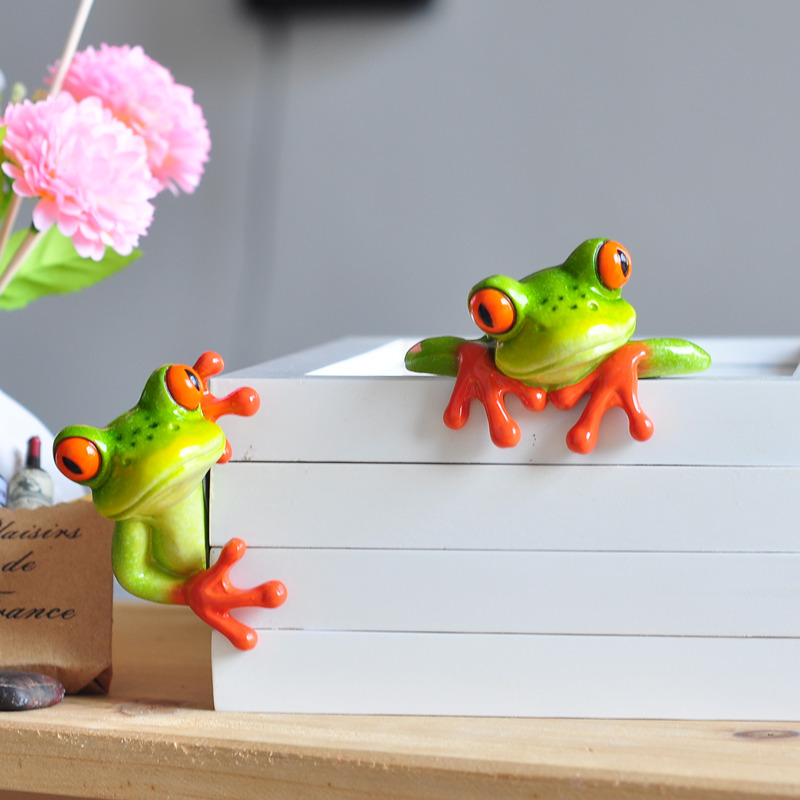 Hot Diy Resin Frog Figurine Home Office Decoration Artificial font b Animal b font Crafts Creative