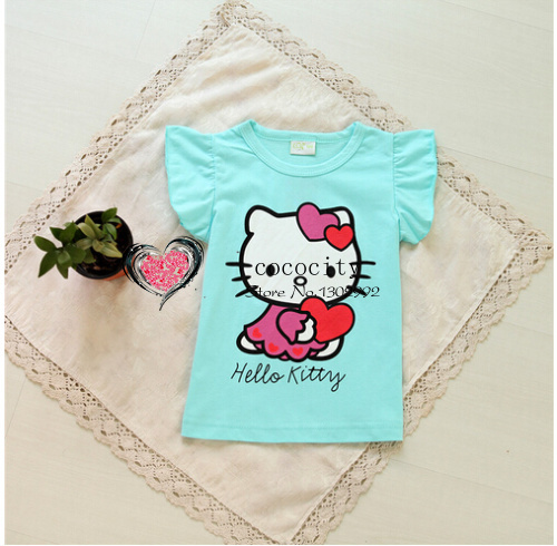 Free Shipping 2014 New Baby Girls Hello Kitty Tshirt Children Kt Short Sleeve 100%Cotton T-shirt Kids Summer Clothes(China (Mainland))